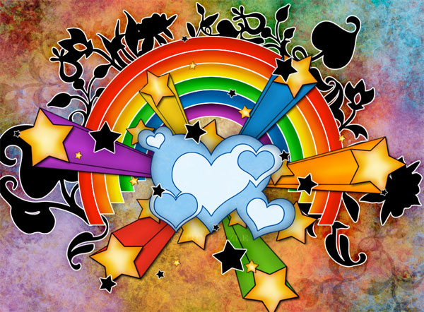 Most used eleme... Graffiti Wallpaper Love Rainbow