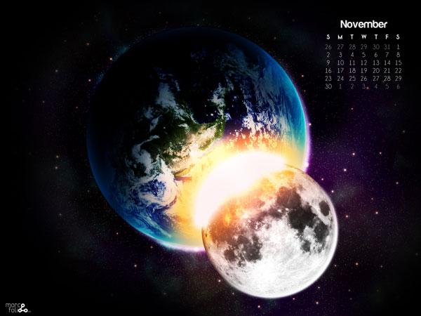 Planet Collision: Free November 2009 Calendar Wallpaper