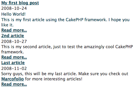 Building a blog with CakePHP 03