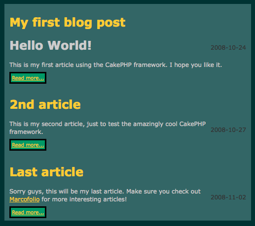 Building a blog with CakePHP 05