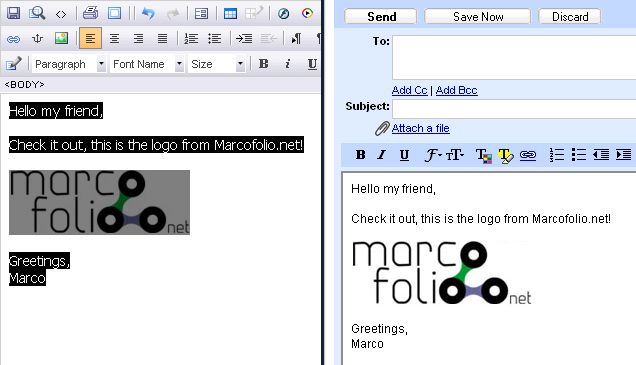 HTML and images in your Gmail message that you can use as a signature